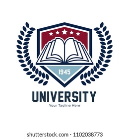 Education, academy, school, university, learn, study, hat, book, symbol, graduate, hat. Vector logo template
