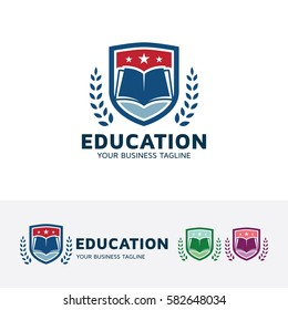 Education, academy, school, university, learn, study, hat, book, symbol, graduate, hat. Vector logo template