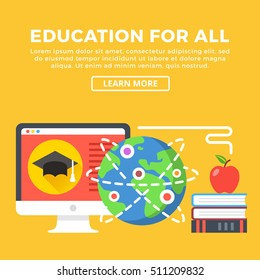 Education for all concept. Modern graphic elements for web banners, infographics, web design, printed materials. Flat design vector illustration