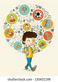 Education back to school cartoon boy colorful global icons. Vector layered for easy personalization.
