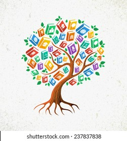 Education and back to school concept tree with learn subjects icons book illustration. EPS10 vector file organized in layers for easy editing.