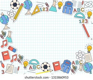 education background, back to school sale banner, poster, flat design colorful, vector.