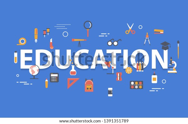 Education Banner Concept Icons Design On Stock Vector Royalty Free 1391351789