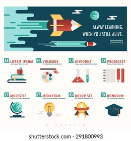 education banner and infographic vector