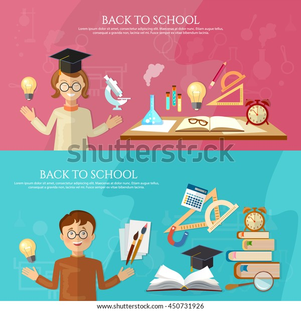 Education Banner Student School Board Back Stock Vector Royalty Free 450731926