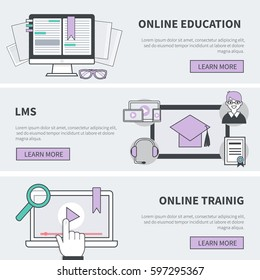 Education banners collection in flat line modern style. Vector illustration for web banner, infographics, hero images.