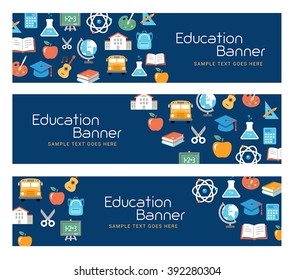 Education banners, e-learning, school activities. Flat design style.