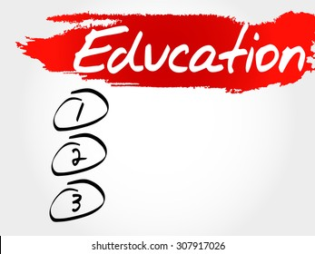 Education blank list, business concept
