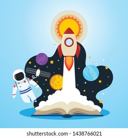 Education book intelligent expert learning concept, space suit, stars, rocket launch successful - Vector