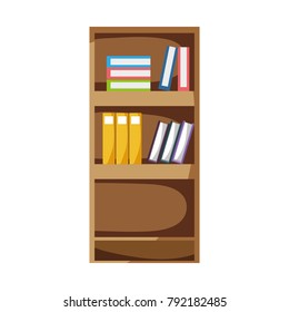 education bookcase with books and folder documents