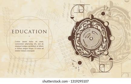 Education. Brain labyrinth and golden ratio. Renaissance background. Medieval manuscript, engraving art