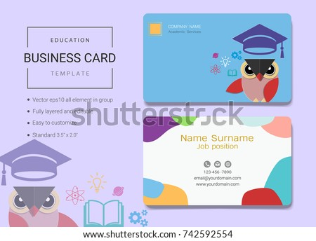Education business name card template simple stock vector royalty education business name card template simple style also modern and elegant with owl teacher background flashek Gallery