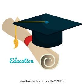 education cap graduation graphic isolated