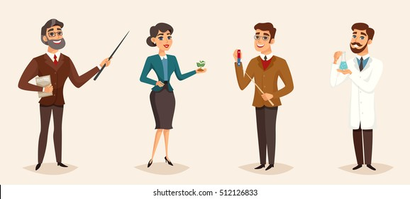 Education cartoon template with different characters of male and female teachers isolated vector illustration