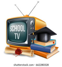 Education channel. Book stack, graduation cap, diploma and retro television. Vector realistic volumetric illustration. Isolated on white background.