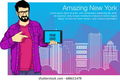 Education character of young guy is showing a finger on the tablet PC cover. Vector illustration of cover of New York buildings for web banner, hackathon, education workshop.