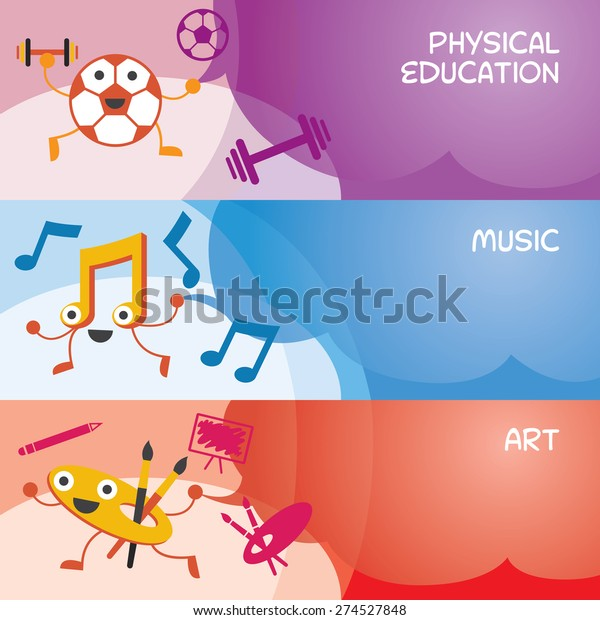 Education Characters Banner Physical Music Art Stock Vector Royalty Free 274527848