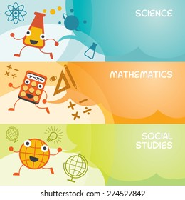 Education Characters Banner, Science, Math, Social, Kindergarten, Preschool, Kids, Learning and Study Concept