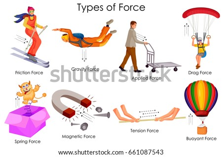 63c1a73701fb Education Chart of Physics for Different Types of Force Diagram. Vector  illustration