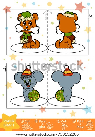 Education Christmas Paper Crafts Children Dog Stock Vector Royalty