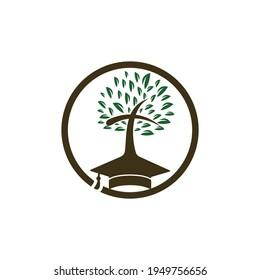Education church vector logo design. Graduation cap and cross tree icon design.
