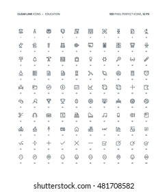 Education clear line, illustrations, icons, backgrounds and graphics. The icons pack is black and white, flat, vector, pixel perfect, minimal, suitable for web and print. Linear pictogram.