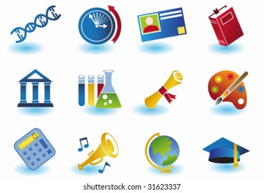 Education Color Icon Set : School themed buttons.