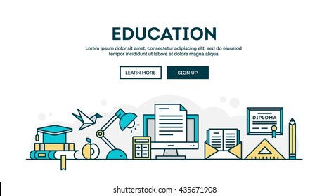 Education, colorful concept header, flat design thin line style, vector illustration