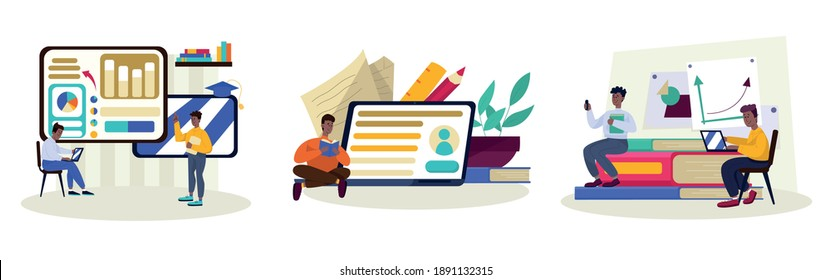 Education composition with students learning and studying. Creative concept of university education and online learning. Vector illustration in cartoon style.