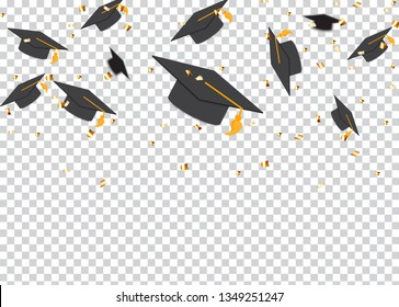 Education Concept Background. Graduation caps and confetti. vector illustration EPS10