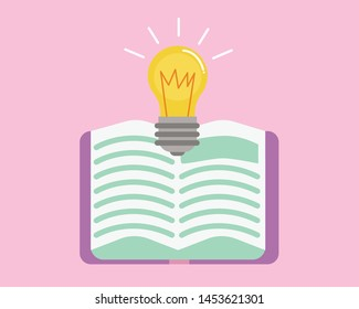 Education concept: Book and bulb on pastel color background vector.