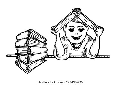 education concept. boy holds a book over his head and a stack of books on the table