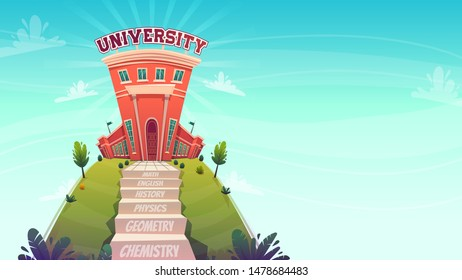 education concept , classes step stairs tu knowledge university , ladder with text math chemistry path to good job graduation . vector catroon funny flat style illustration