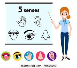 Education concept five human senses: vision (eye), smell (nose), hearing (ear), touch (hand), taste (mouth with tongue) with woman near the school board. Vector illustration isolated on white backgr