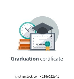 Education concept, graduation hat, diploma and clock, degree certificate, accomplishment, vector illustration