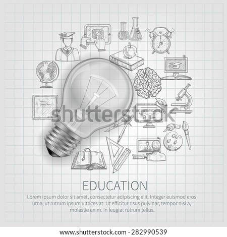 education concept learning sketch icons realistic stock vector
