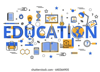 Education concept in modern flat line style. Vector illustration, education process, increasing knowledge, choice of universities for  web banners, brochures