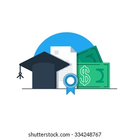 Education concept, research grant and certificate, tuition money, finance education, scholarship vector illustration