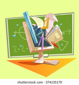 Education concept with school studying supplies in retro style vector illustration