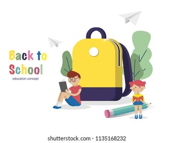 Education concept. Schoolchild read books near school backpack.Back to School Background. Vector Illustration