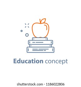 Education concept, stack of books with apple on top, exam preparation, vector line icon