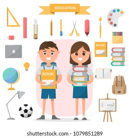 Education concept. students standing with classroom objects on flat design. children study at school. vector illustration cartoon character