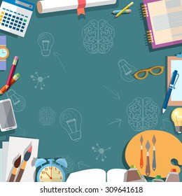 Education concept table schoolboy school objects back to school power knowledge vector illustration