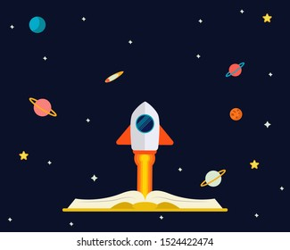 Education concept: There are many planets, stars, rocket launch in the space from a big book.