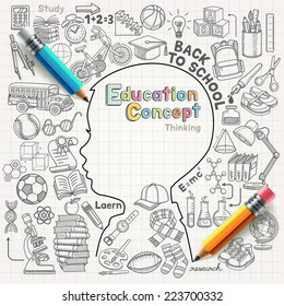 Education concept thinking doodles icons set. Vector illustration.