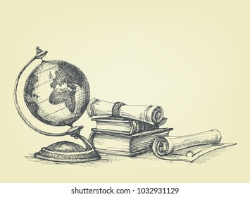 Education concept. Vintage background earth globe, old books and scroll