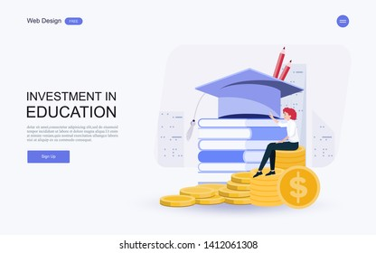 Education concept for website and landing page template.investment in knowledge, student loans, scholarships.money,savings for study.Vector illustration.
