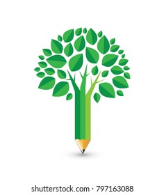 Education Conceptual Illustration - Pencil Tree Illustration with Green Leaves Idea for Education Concept, Ecological Education Concept, Community, Education Logo, Environmental Issue