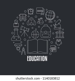 Education design concept with education, school and university icons. Back to School. Black background.