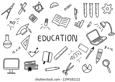 education doodle art with text banner on the middle with black and white color vector illustration